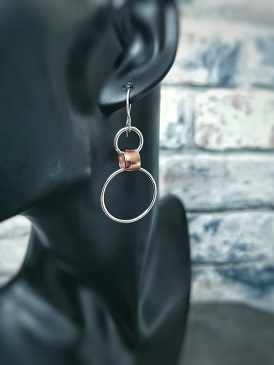 hooped earrings on a black plastic head- handmade hooped earrings