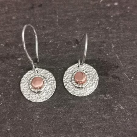 sterling silver textured earrings with a copper center - handmade sterling silver and copper circle earrings