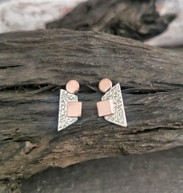 earrings on a piece of bog oak -statement stud earrings