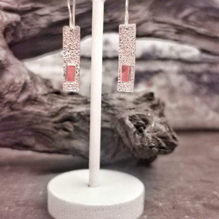 earrings displayed on a white T Bar-handmade geometric earrings