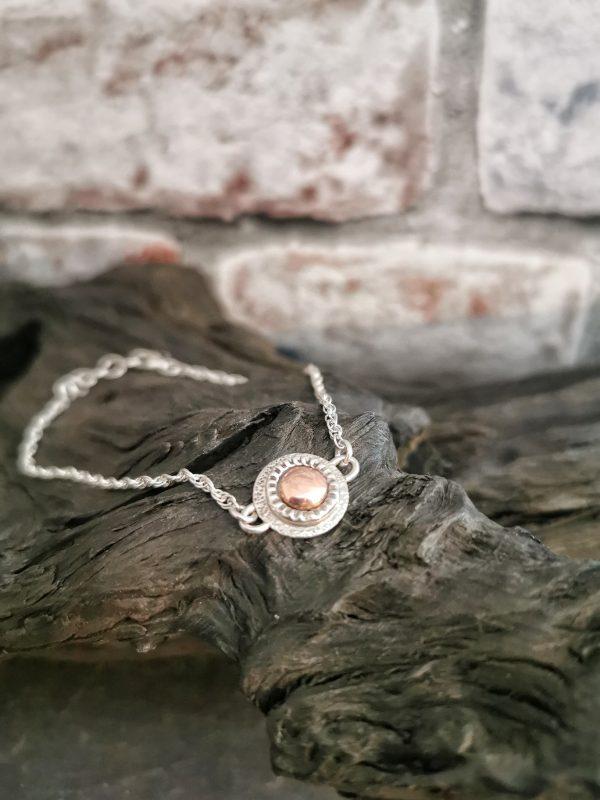bracelet on bog oak - handmade sterling silver bracelet