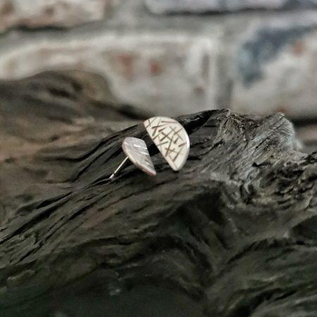 earrings on bog oak- sterling silver stud earrings