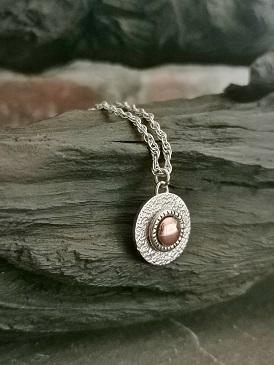necklace on black bog oak- handmade circle necklace