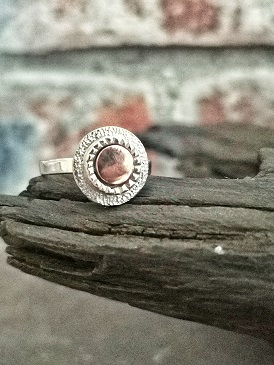 sterling silver ring on bog oak- handmade circle ring