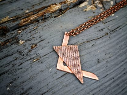 12A Handmade Copper Etched Pendant- 18 inch chain,43mm long, 33mm wide
