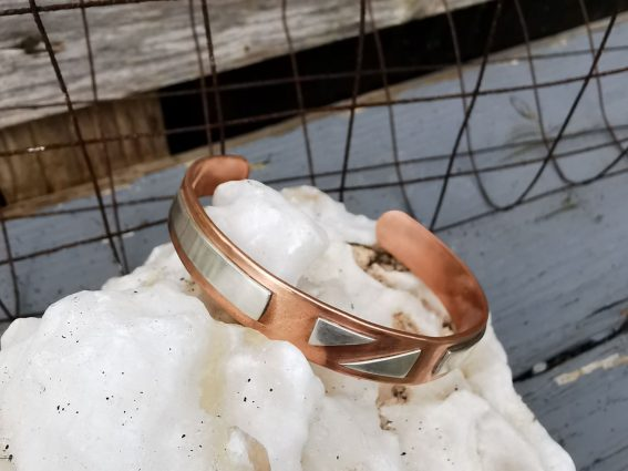 3A Handmade Copper and Sterling Silver Geometric Bangle